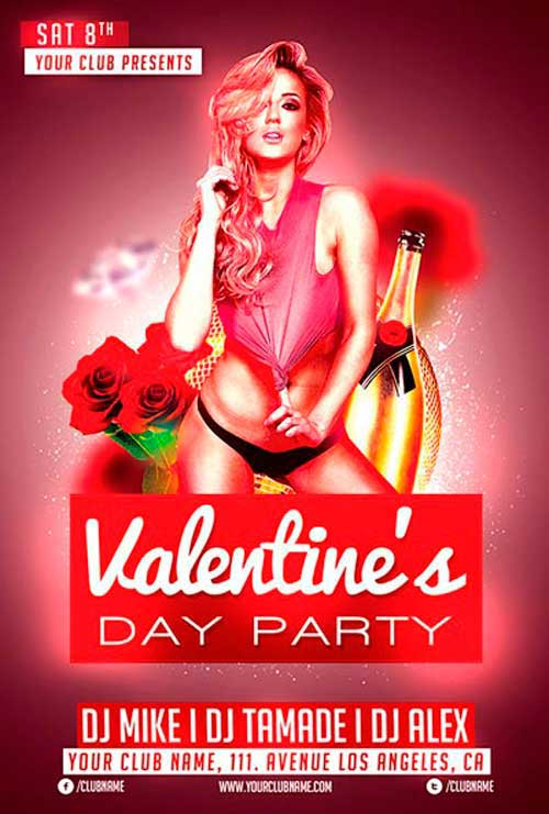 Valentines Day Club Free Flyer Template