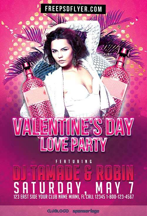 Valentines Day Love Party Free Flyer Template