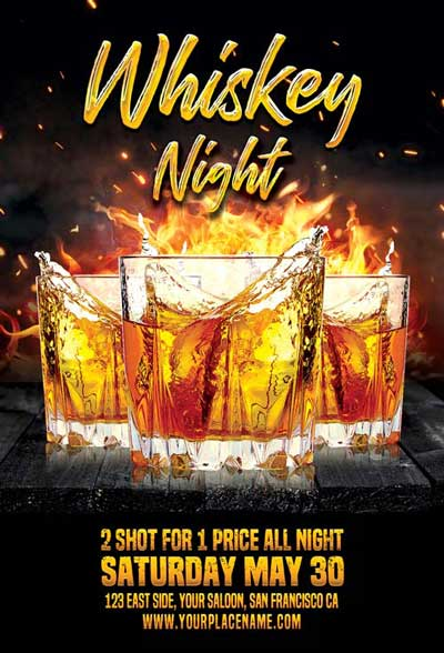 Whiskey Night Free Flyer Template