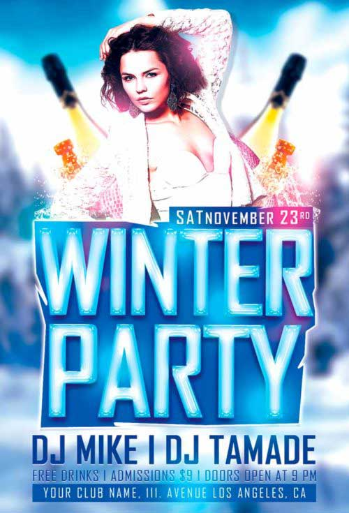 Winter Party Free Flyer Template