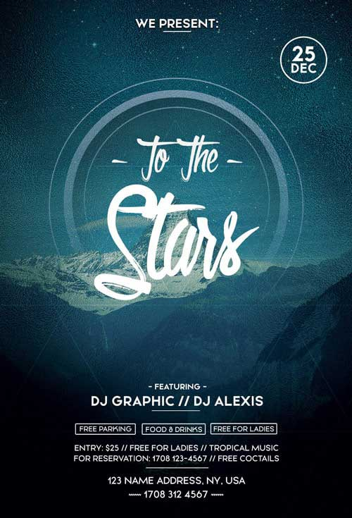 To The Stars Electro Party Free Flyer Template